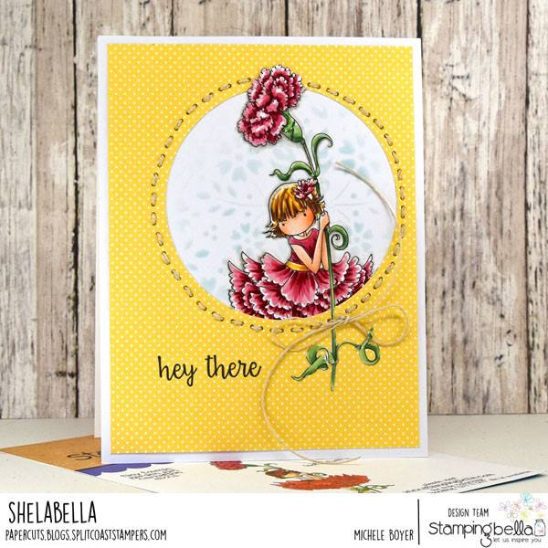www.stampingbella.com: rubber stamp used TINY TOWNIE GARDEN GIRL CARNATION , card by Michele Boyer