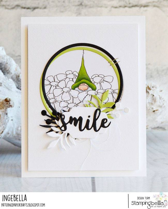 www.stampingbella.com: Rubber stamp used: GNOME BOUQUET.  Card by Inge Groot