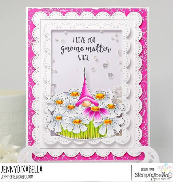 www.stampingbella.com: Rubber stamp used: GNOME BOUQUET.  Card by Jenny Dix