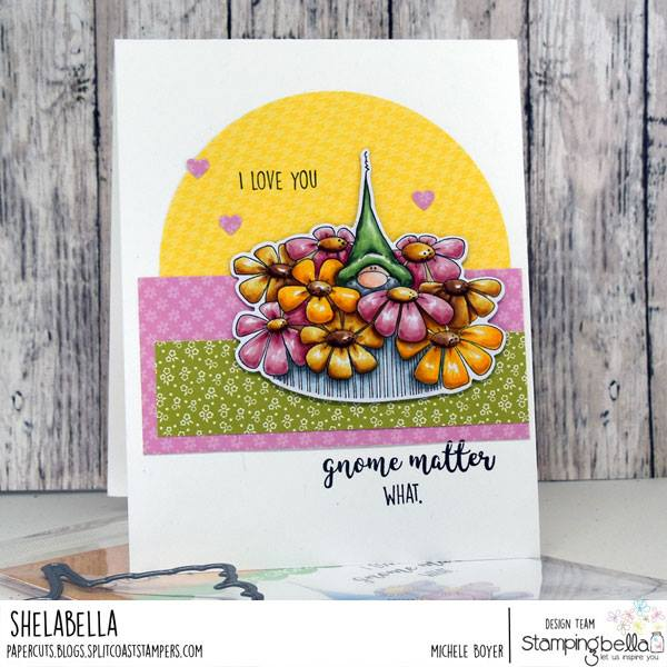 www.stampingbella.com: Rubber stamp used: GNOME BOUQUET.  Card by Michele Boyer