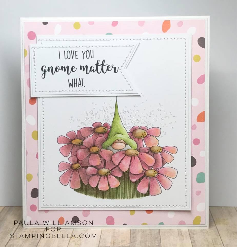 www.stampingbella.com: Rubber stamp used: GNOME BOUQUET.  Card by Paula Williamson