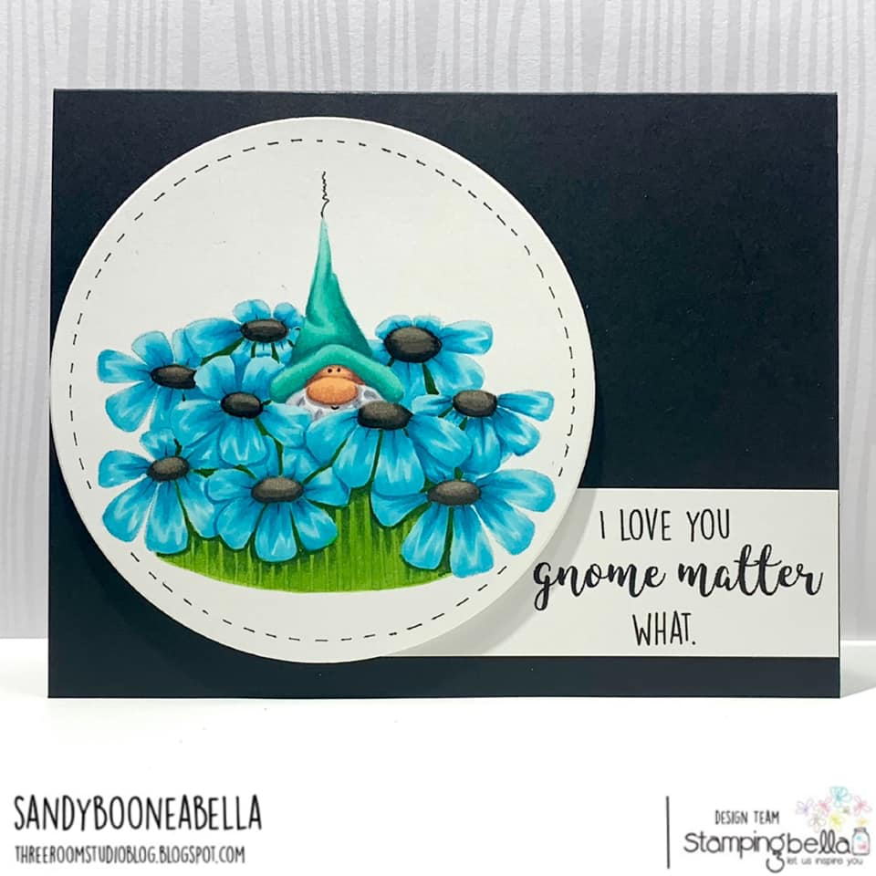 www.stampingbella.com: Rubber stamp used: GNOME BOUQUET.  Card by Sandy Boone