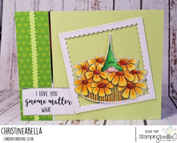 www.stampingbella.com: Rubber stamp used: GNOME BOUQUET.  Card by Christine Levison