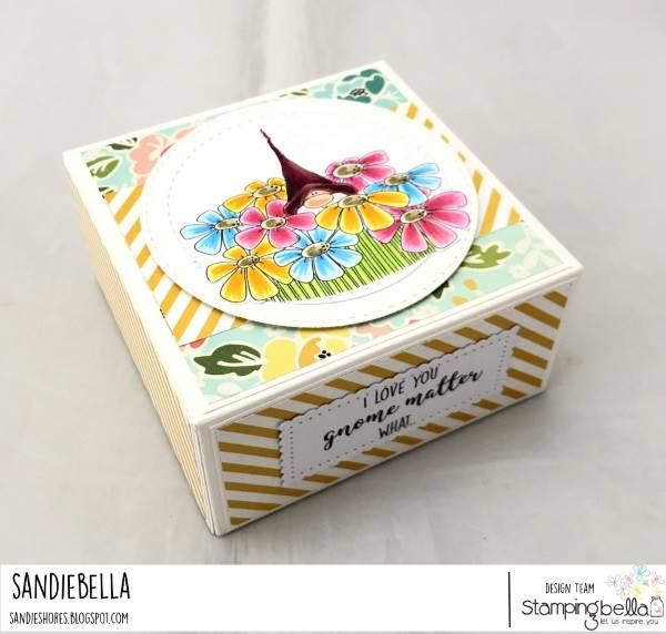 www.stampingbella.com: Rubber stamp used: GNOME BOUQUET.  Card by Sandie Dunne
