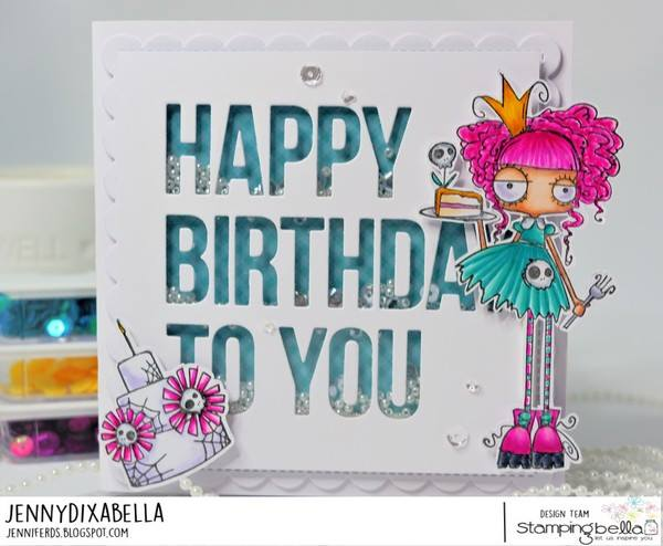 www.stampingbella.com: rubber stamp used : ODDBALL BIRTHDAY QUEEN. card by Jenny Dix