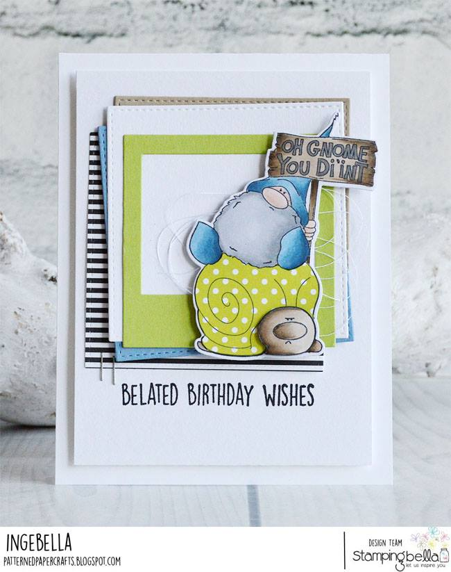 www.stampingbella.com: rubber stamp used OH GNOME YOU DI'INT. CARD by INGE GROOT