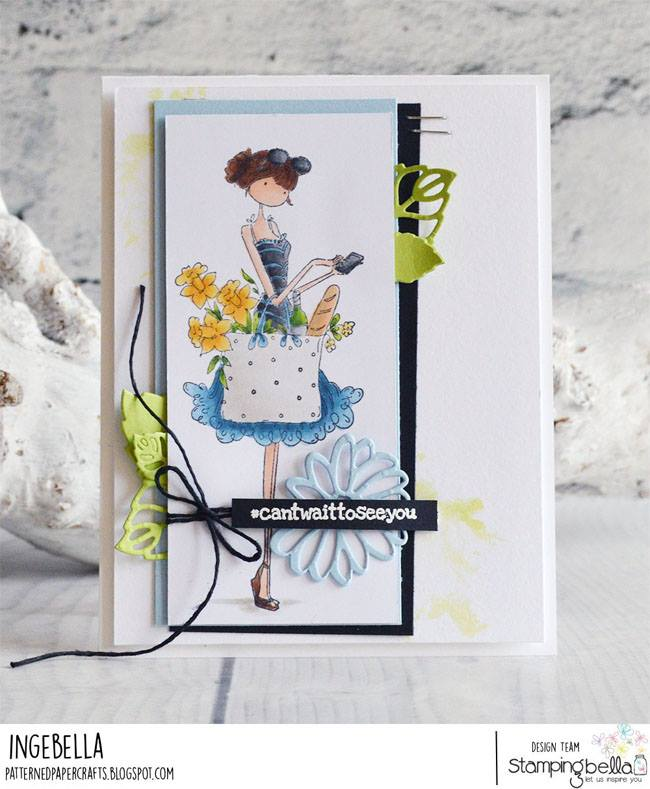 www.stampingbella.com: rubber stamp used UPTOWN GIRL TIFFANY LOVES TO TEXT. card by Inge Groot