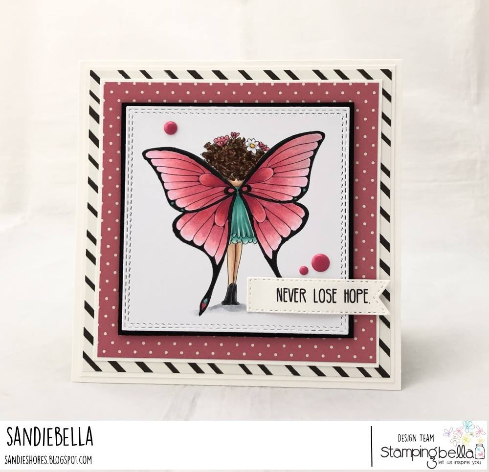 www.stampingbella.com: rubber stamp used: TINY TOWNIE BUTTERFLY GIRL BABETTE.  card by Sandie Dunne