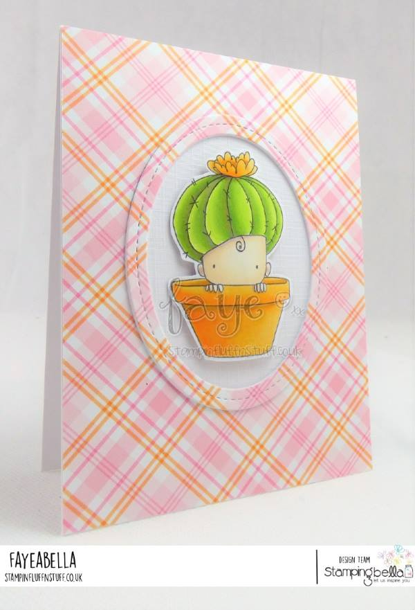 www.stampingbella.com: rubber stamp used: CACTUS BABY. Card by Faye Wynn Jones