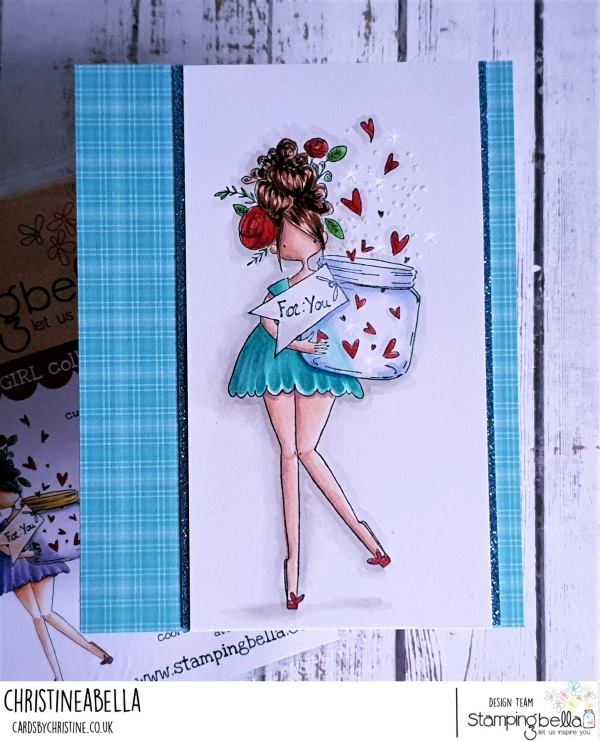 www.stampingbella.com: rubber stamp used: CURVY GIRL WITH A JAR OF HEARTS.  Card by Christine Levison