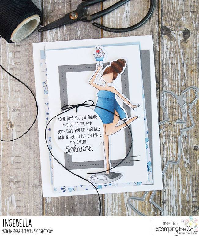 www.stampingbella.com: rubber stamp used CURVY GIRL WITH GOOD BALANCE.  Card made by INGE GROOT