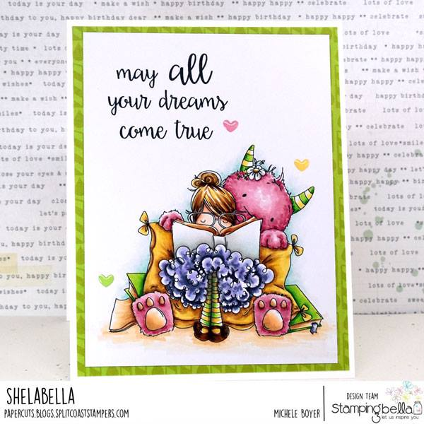 www.stampingbella.com: rubber stamp used: TINY TOWNIE DOROTHY THE DREAMER.  card by Michele Boyer