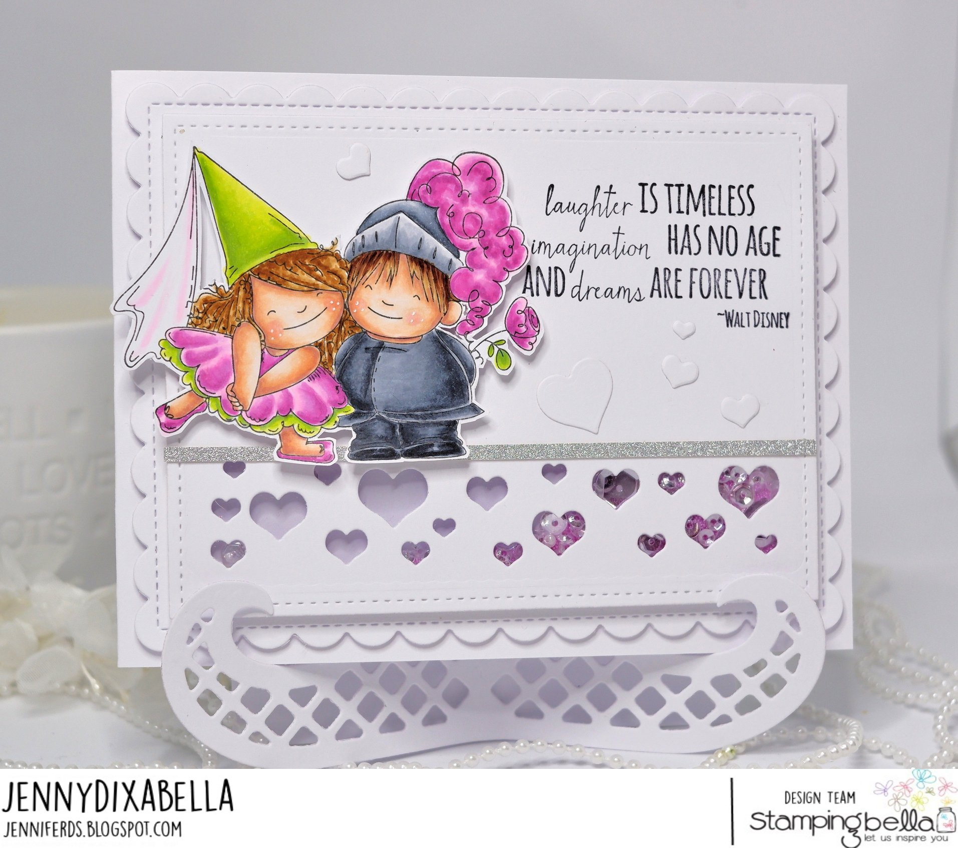 www.stampingbella.com: rubber stamp used: FAIRY TALE SQUIDGIES.. card by JENNY DIX