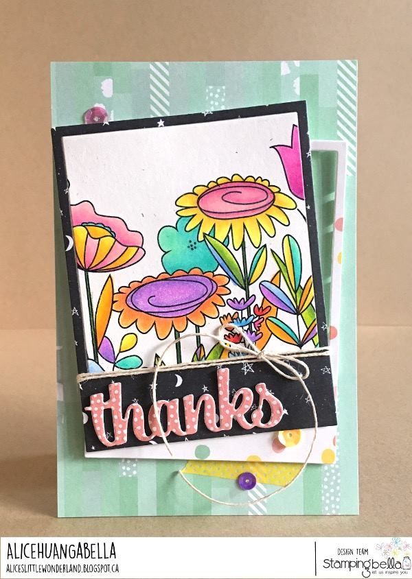 www.stampingbella.com: rubber stamp used: FLORAL FOREST BACKDROP.  card by Alice Huang