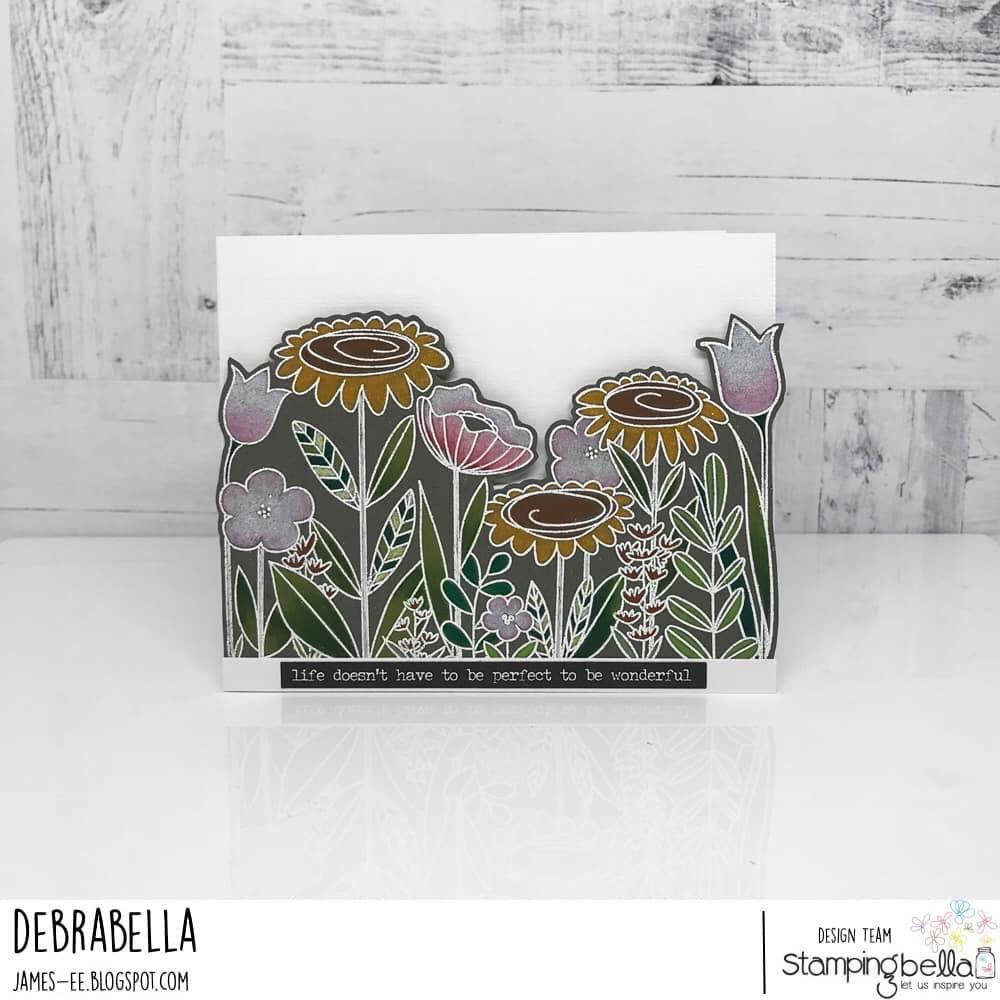 www.stampingbella.com: rubber stamp used: FLORAL FOREST BACKDROP.  card by DEBRA JAMES
