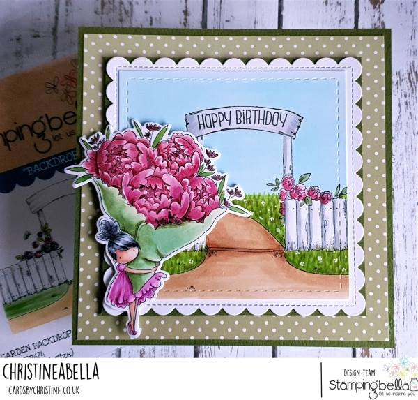 www.stampingbella.com: rubber stamp used: GARDEN BACKDROP and TEENY TINY WITH A BOUQUET.  card by CHRISTINE LEVISON
