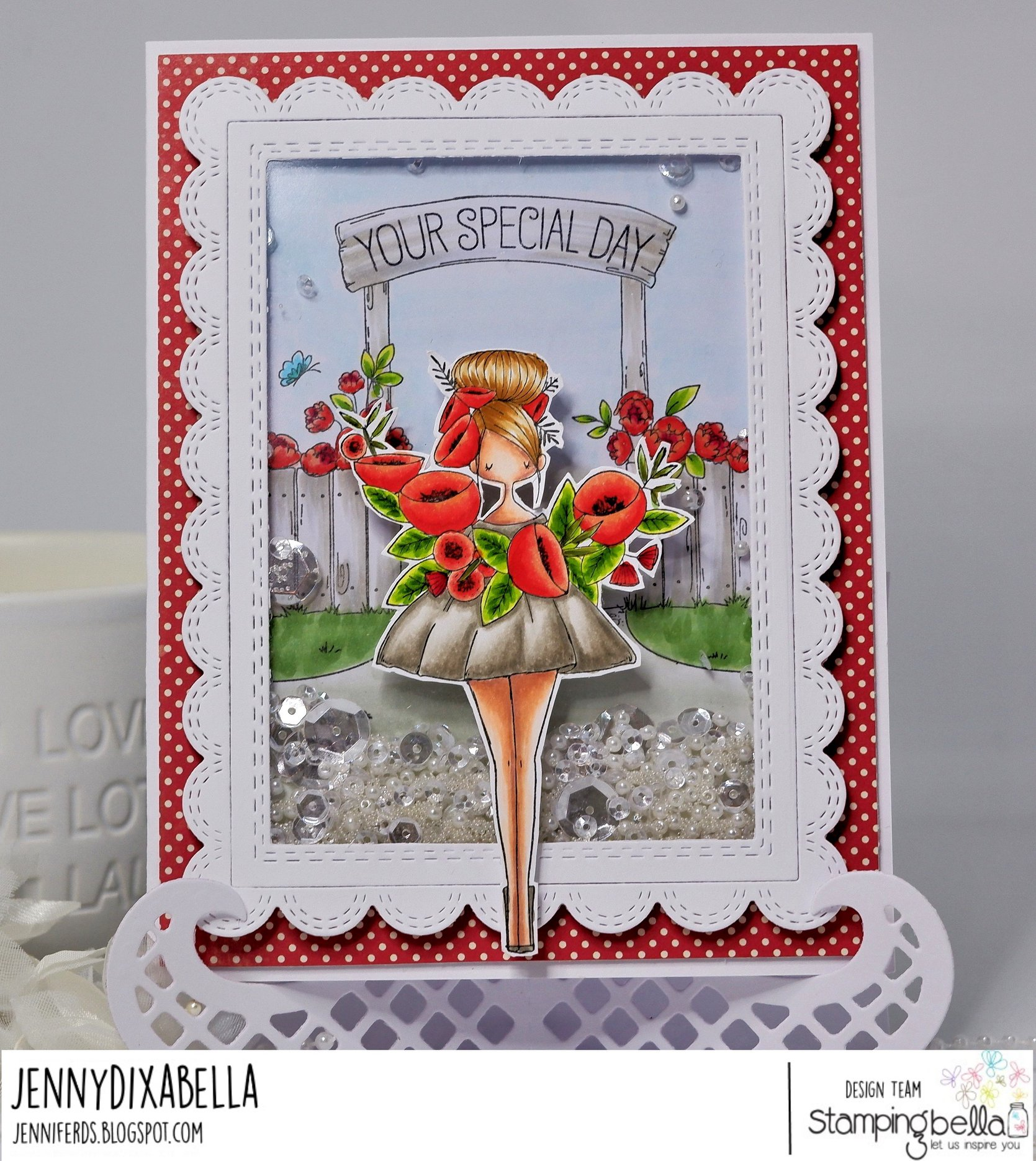 www.stampingbella.com: rubber stamp used: GARDEN BACKDROP and CURVY GIRL WITH A WREATH.  card by JENNY DIX