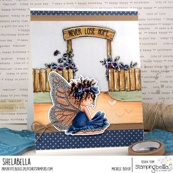 www.stampingbella.com: rubber stamp used: GARDEN BACKDROP and TINY TOWNIE BUTTERFLY GIRL BESS.  card by MICHELE BOYER