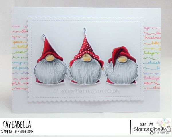 www.stampingbella.com: rubber stamp used: GNOMES HAVE FEELINGS TOO.  Card by FAYE WYNNE JONES