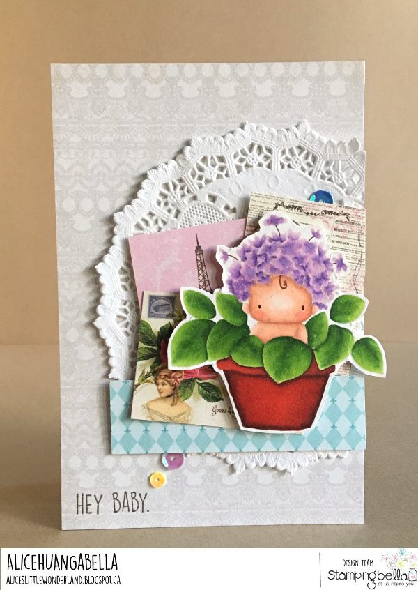 www.stampingbella.com: rubber stamp used : HYDRANGEA BABY.  Card by ALICE HUANG