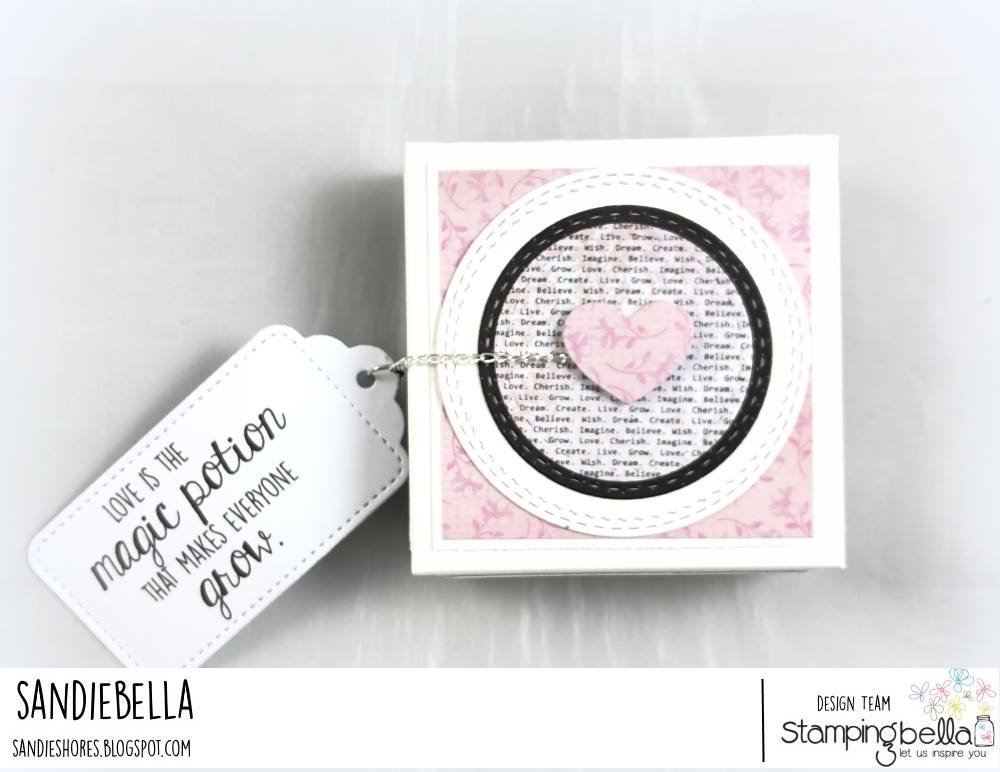 www.stampingbella.com: RUBBER STAMP USED: LOVE POTION ODDBALL.  Project by SANDIE DUNNE
