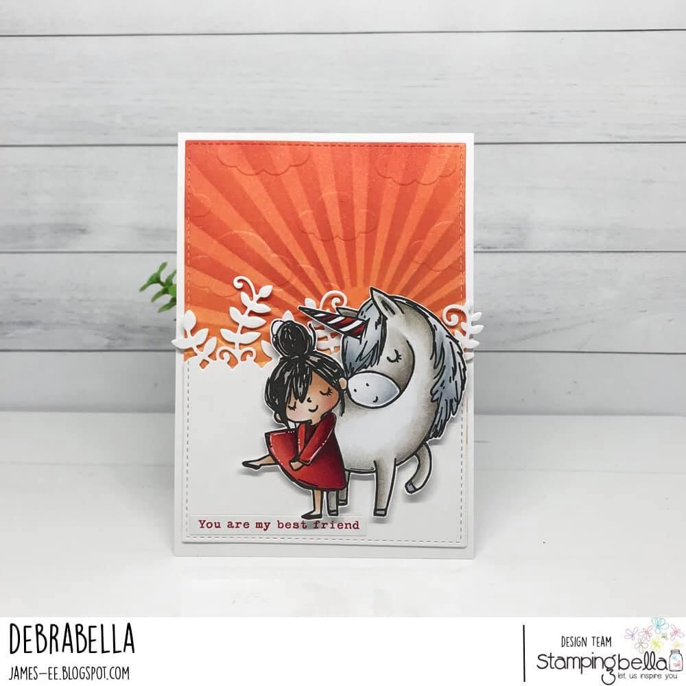 www.stampingbella.com: rubber stamp used: MEET ROSIE AND BERNIE.  CARD BY DEBRA JAMES