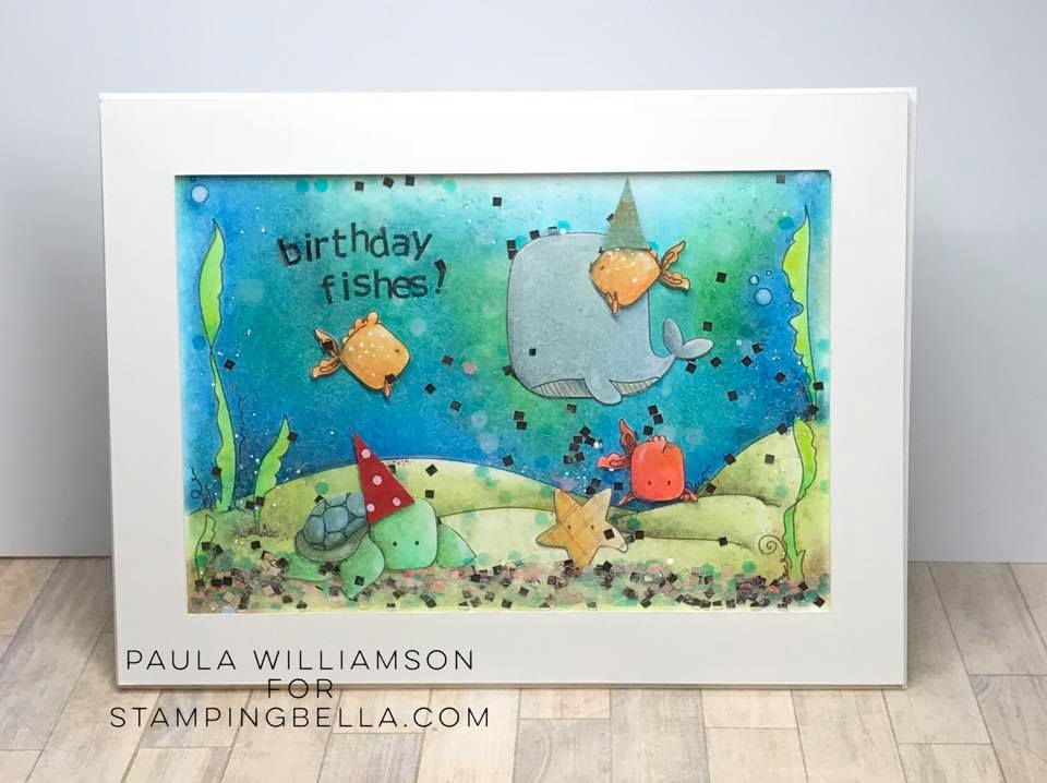 www.stampingbella.com: rubber stamp used: UNDER THE SEA CREATURES BACKDROP, UNDER THE SEA CREATURES. card by PAULA WILLIAMSON