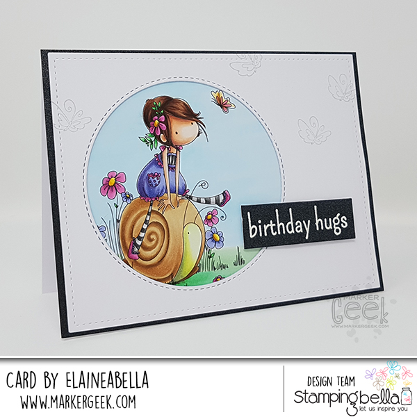 Stamping Bella: Marker Geek Monday Tiny Townie Sally Rides her Snail Card & Copic Colouring Video