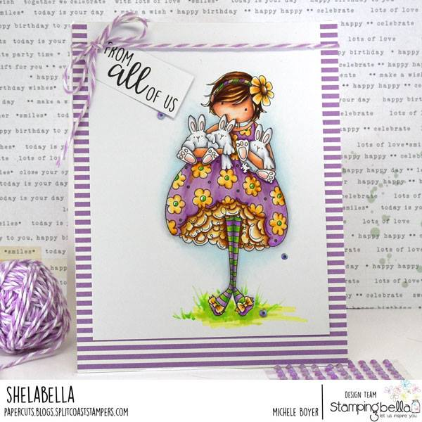 www.stampingbella.com: rubber stamp used:  TINY TOWNIE BECKY LOVES BUNNY WOBBLES. CARD by MICHELE BOYER