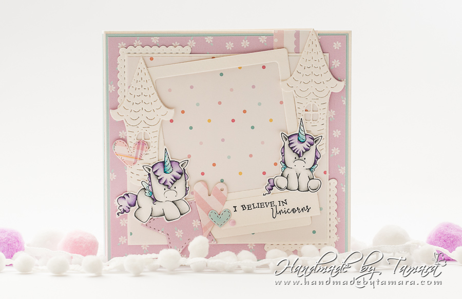 www.stampingbella.com: rubber stamp used: SET OF UNICORNS. Project made by Tamara Potocnik