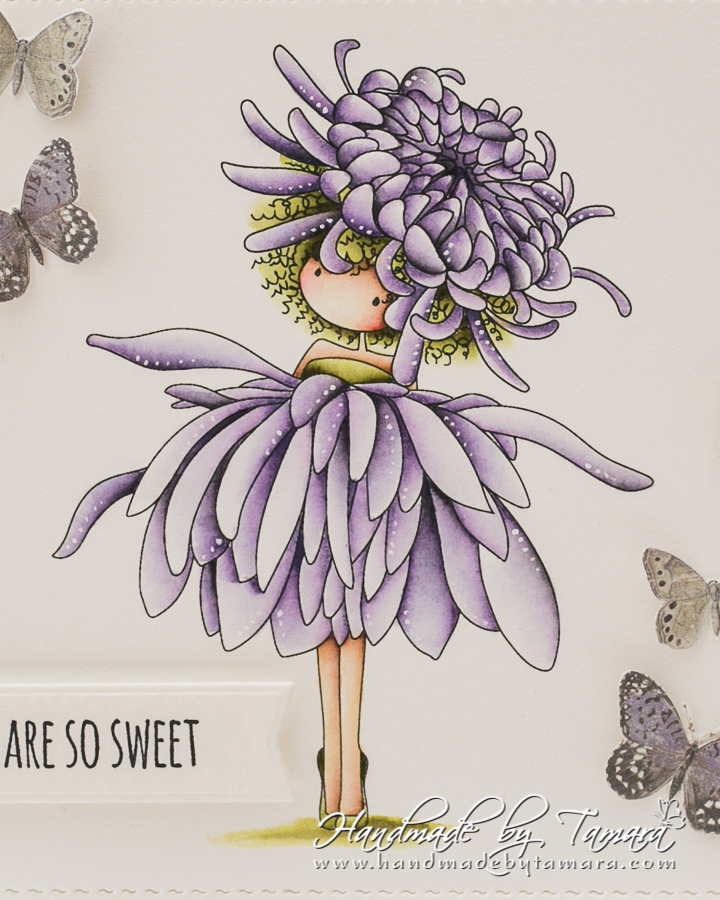 www.stampingbella.com: rubber stamp used: tiny townie garden girl Chrysanthemum. Card by Tamara Potocnik