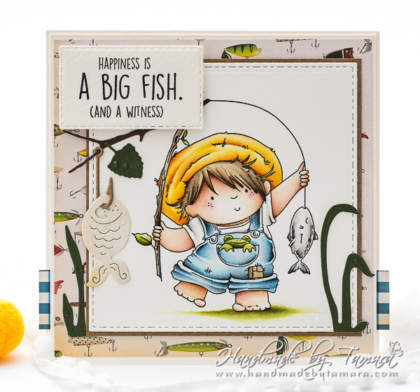 www.stampingbella.com: rubber stamp used: FISHING SQUIDGY.  CARD BY TAMARA POTOCNIK