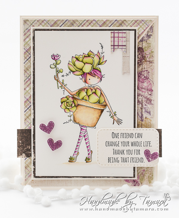 www.stampingbella.com: rubber stamp used:  Tiny Townie Susie the Succulent.  Card by Tamara Potocznik