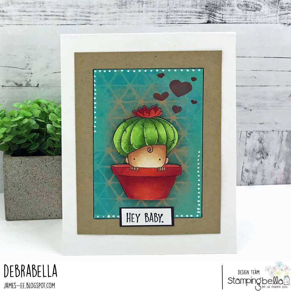 www.stampingbella.com: rubber stamp used :  cactus baby.  canrd by DEBRA JAMES