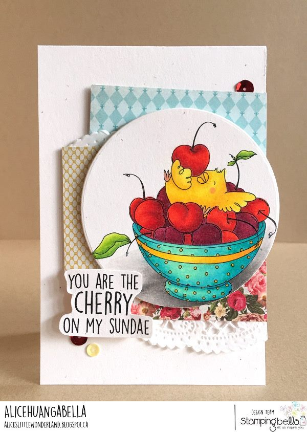 www.stampingbella.com: rubber stamp used : CHERRY CHICK.  Card made by ALICE HUANG