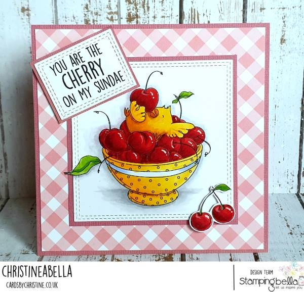 www.stampingbella.com: rubber stamp used : CHERRY CHICK.  Card made by  Christine Levison