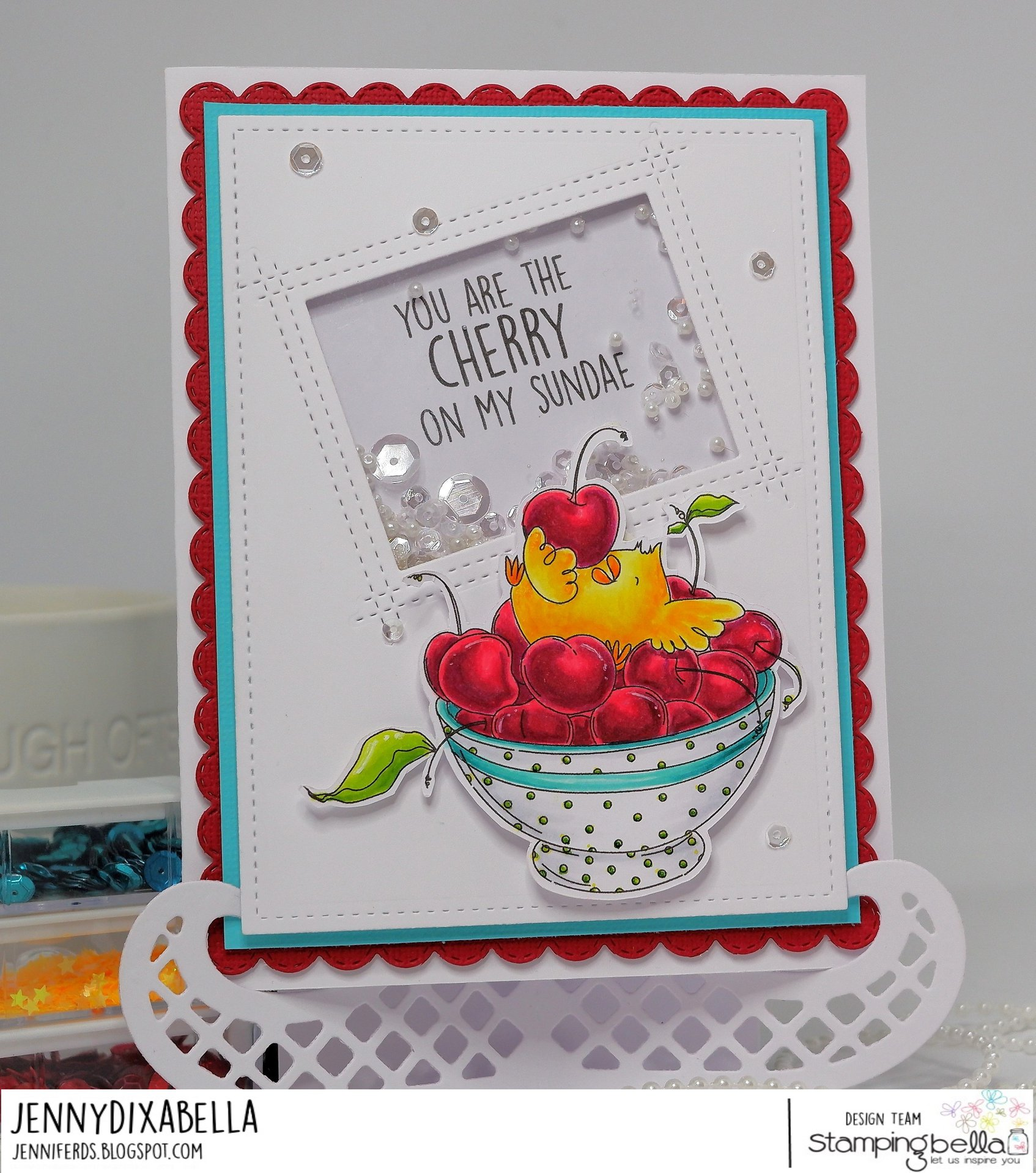 www.stampingbella.com: rubber stamp used : CHERRY CHICK.  Card made by  Jenny Dix
