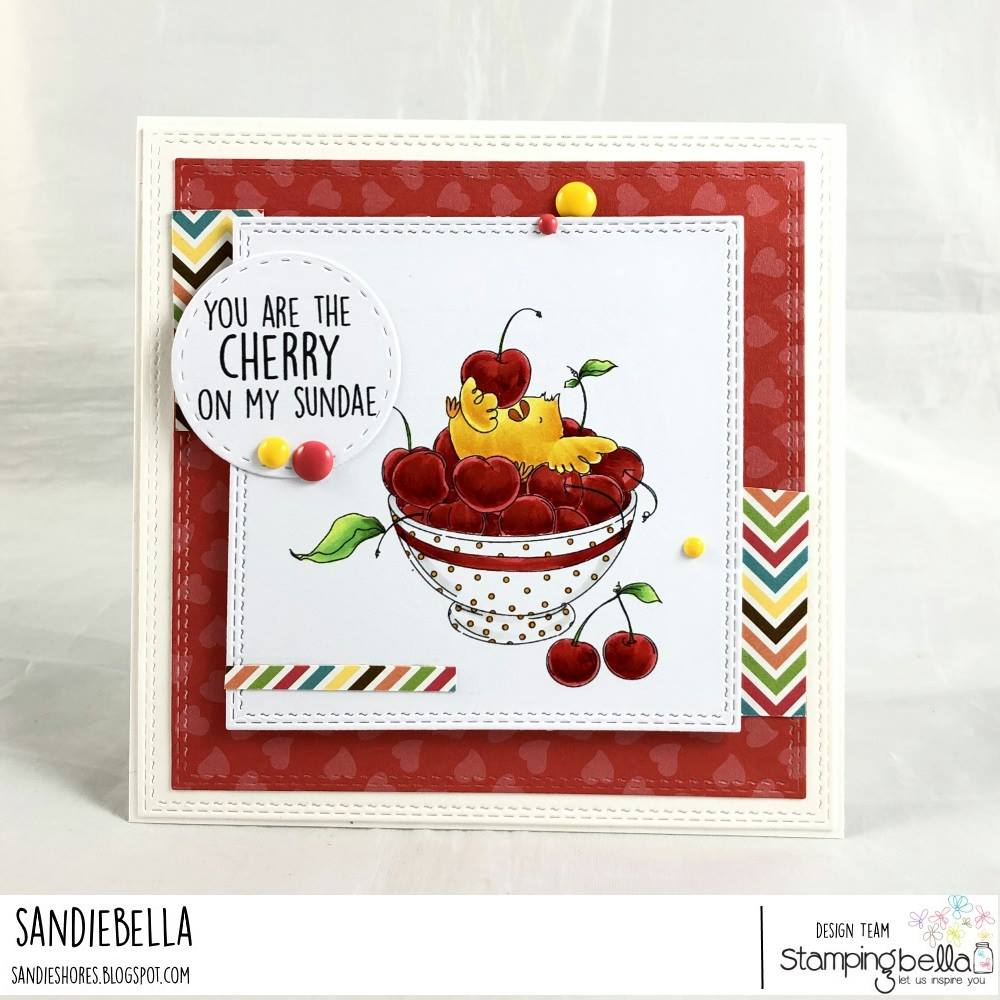 www.stampingbella.com: rubber stamp used : CHERRY CHICK.  Card made by Sandie Dunne