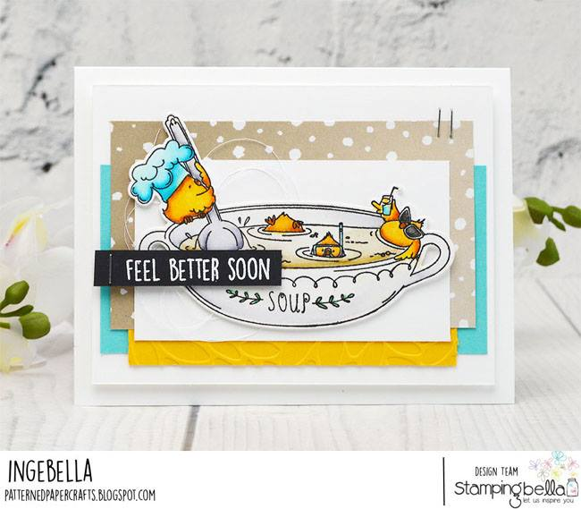 www.stampingbella.com: rubber stamp used CHICK-EN soup.  Card by  Inge Groot