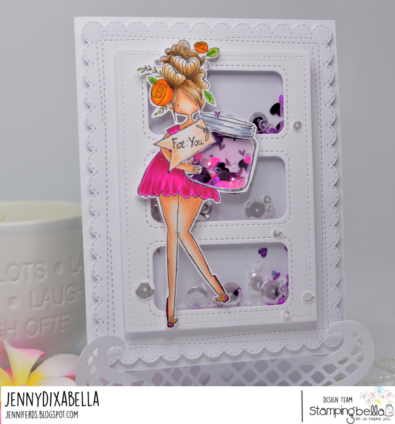 www.stampingbella.com: rubber stamp used :  CURVY GIRL WITH A JAR OF HEARTS.  CARD BY JENNY DIX