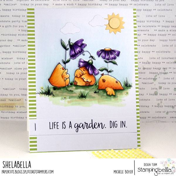 www.stampingbella.com: rubber stamp used GARDENING CHICKS.  Card by  Michele Boyer