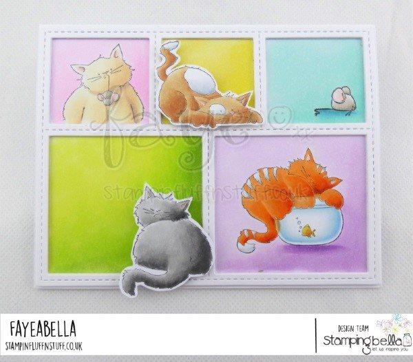 www.stampingbella.com: rubber stamp used :  SET OF KITTIES.  CARD BY FAYE WYNN JONES