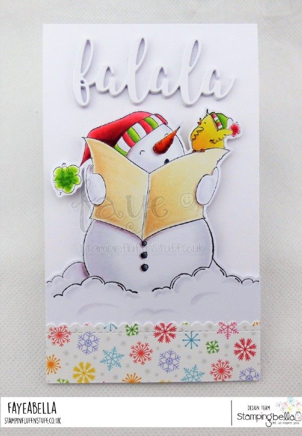 www.stampingbella.com: rubber stamp used SNOWMAN with a CHICK ON TOP.  Card by  Faye Wynn Jones