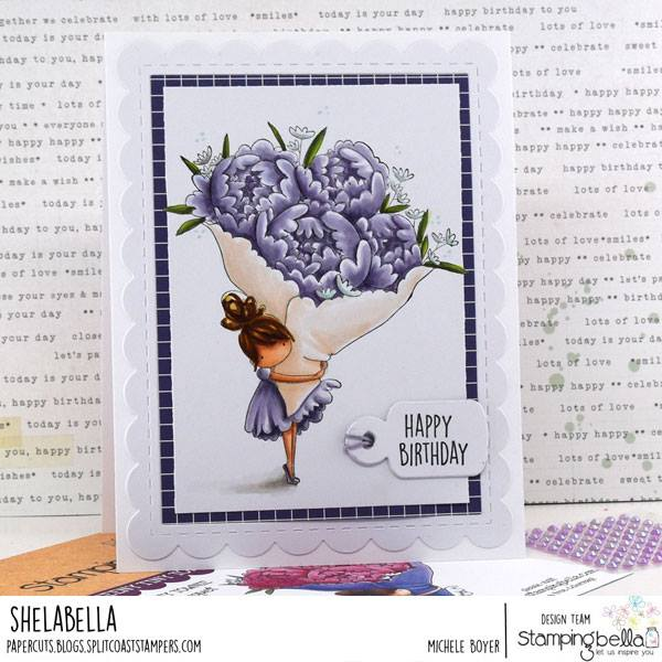 www.stampingbella.com: rubber stamp used :  Teeny Tiny with a bouquet.  Card by Sandie Dunne
