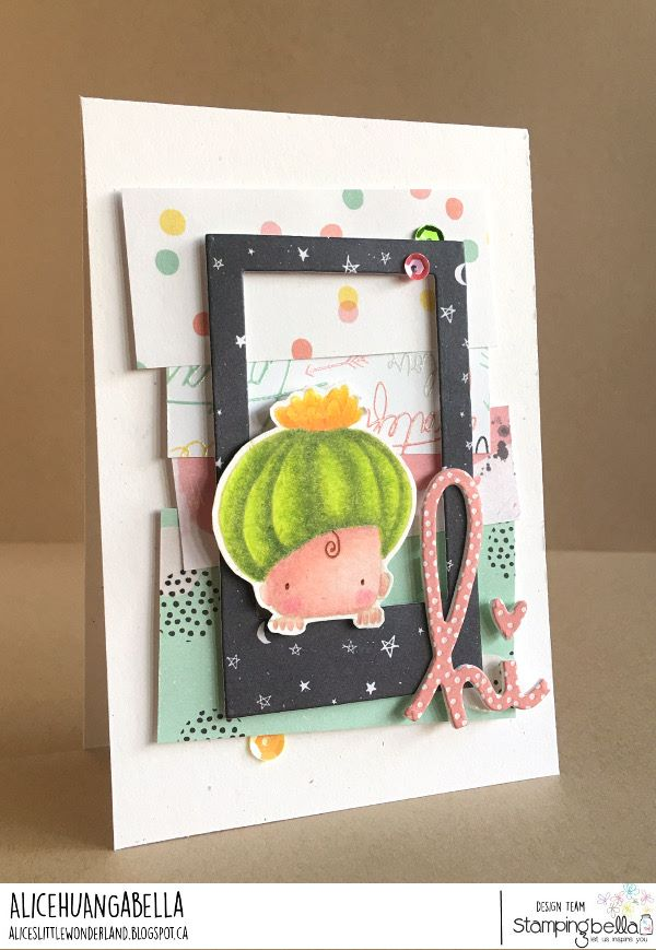 www.stampingbella.com: rubber stamp used: CACTUS BABY.  Card made by ALICE HUANG