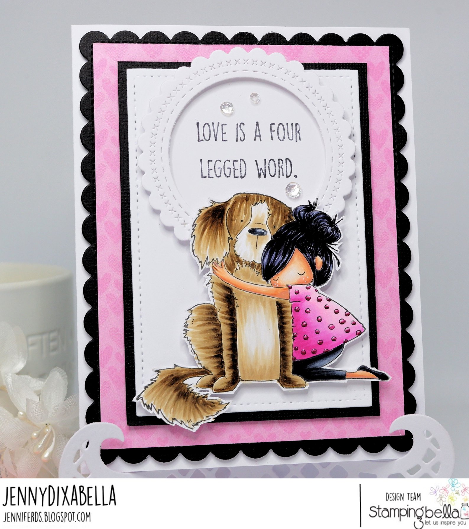 www.stampingbella.com: rubber stamp used: TINY TOWNIE DAWN LOVES HER DOG  Card made by JENNY DIX