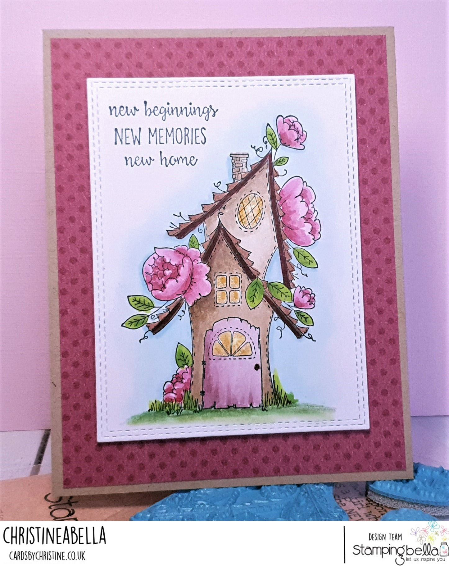 www.stampingbella.com: rubber stamp used: FAIRY GARDEN FAIRY HOUSE  Card made by CHRISTINE LEVISON