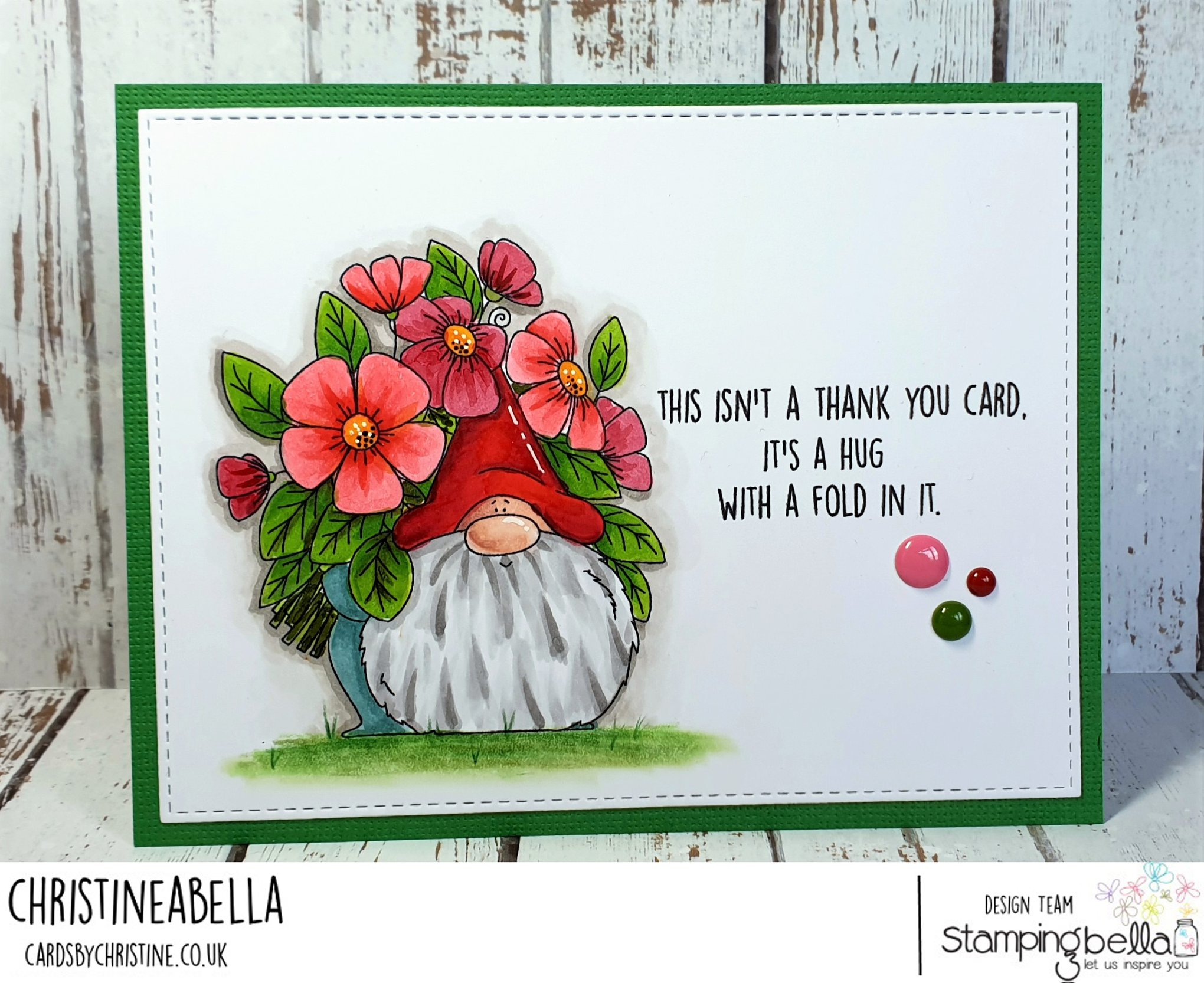 www.stampingbella.com: rubber stamp used: FLOWERY GNOME.  Card made by INGE GROOT