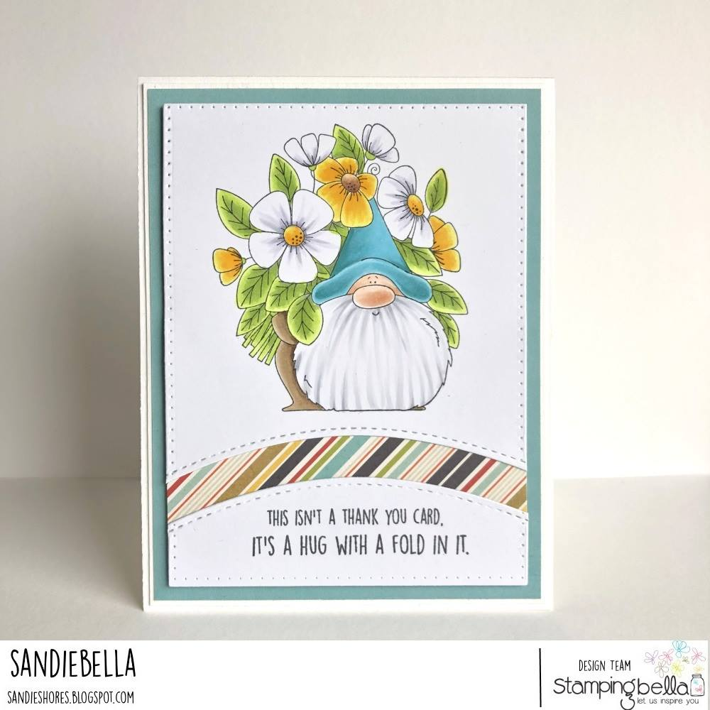 www.stampingbella.com: rubber stamp used: FLOWERY GNOME.  Card made by SANDIE DUNNE