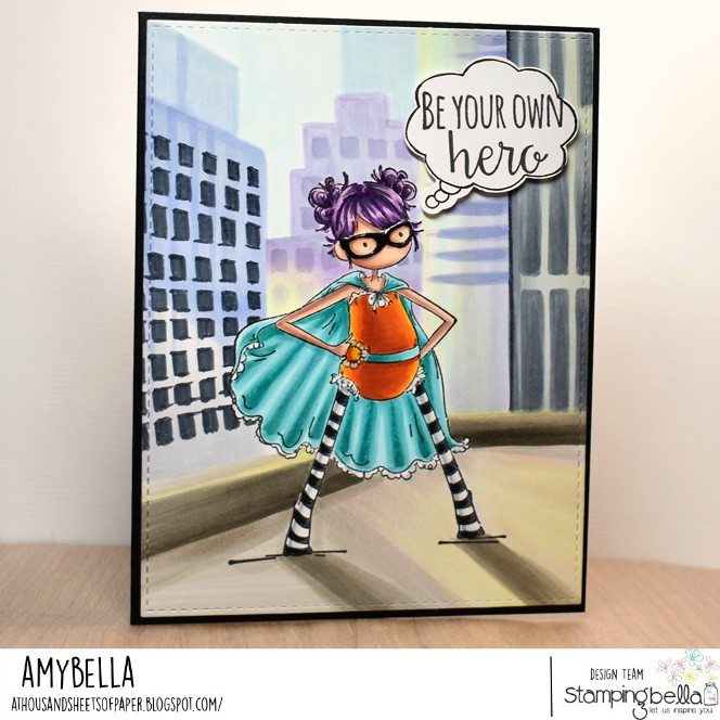 www.stampingbella.com: rubber stamp used TINY TOWNIE HAYLEY THE HERO.  Card by Amy Young